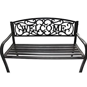 Traditional Outdoor Garden Bench, Classic Antique Gold Finish Black Iron Seats Two to Three People Comfortably Addition to Any Garden Simple Curved Armrests Flow Straight Into The Legs