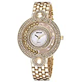 JIANGYUYAN Brand Ladies Gold Watch Fashion Bead Rhinestone Round Dial Analog Quartz Dress Watches Women Wateroroof Gift