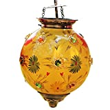IndainShelf Handmade Decorative Yellow Glass Flower Hanging Crystal Celling Lamp Chandelier