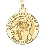 Saint Mother Teresa Religious Medal in Laser 14K Yellow or White Gold, or Sterling Silver