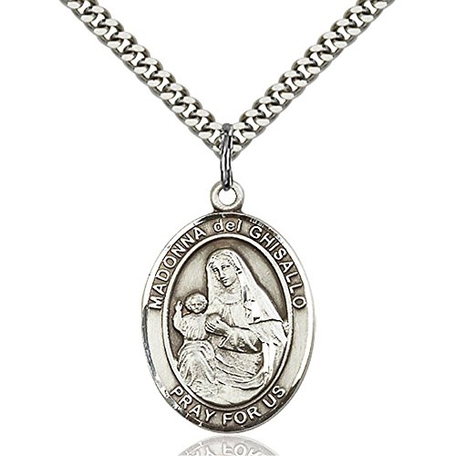 Bonyak Jewelry Sterling Silver St. Madonna Del Ghisallo Pendant 1 x 3/4 inches with Heavy Curb Chain
