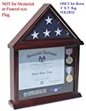 flag frame 3 x 5 - Small 3'x5' Flag Display Case Stand, NOT for Memorial or Funeral Flag size. FC11V (Mahogany)