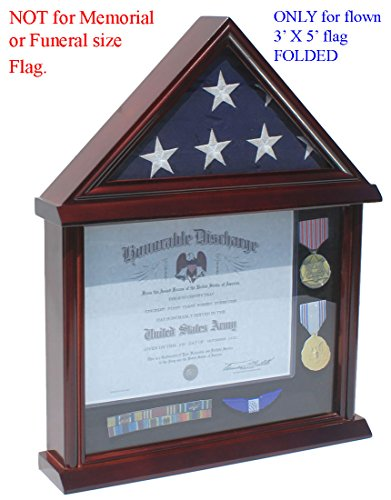 Small 3'x5' Flag Display Case Stand, NOT for Memorial or Funeral Flag size. FC11V (Military Certificate)