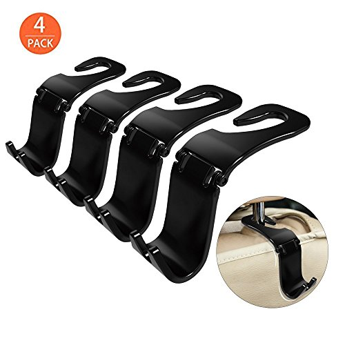 OfsPower 4-Pack Car Hooks, Back Seat Headrest Hook Vehicle Car Storage Organization for Purse Grocery Bag Shopping Bags