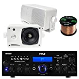 Pyle PDA6BU USB/SD-Card 200-Watt Bluetooth Stereo Amplifier Receiver, 4x Pair PLMR24 Pyle 3.5'' 200 Watt 3-Way Weather Proof Mini Box Speaker System (White), Enrock Audio 16-Gauge 50 Foot Speaker Wire