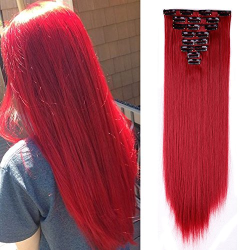 Clip in Hair Extensions Synthetic Full Head Charming Hairpieces Thick Long Straight 8pcs 18clips for Women Girls Lady (23 inches-straight, dark red) by Beauti-gant