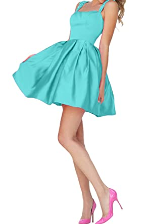 Avril Dress Mini Sleeveless Beaded Cocktail Prom Dress Open Back Straps-16-Medium Turquoise