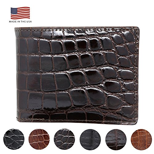 - Brown Genuine Glazed Alligator Wallet - American Factory Direct - Made in USA by Real Leather Creations FBA731 BT