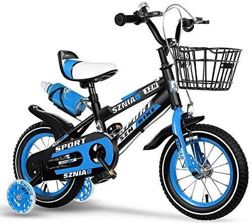 """YSA キッズバイク12/14/16/18""""トレーニングホイール付き炭素鋼フレームの子供用自転車、スタビライザーとバスケット付きの男の子の女の子用キッズバイク"""