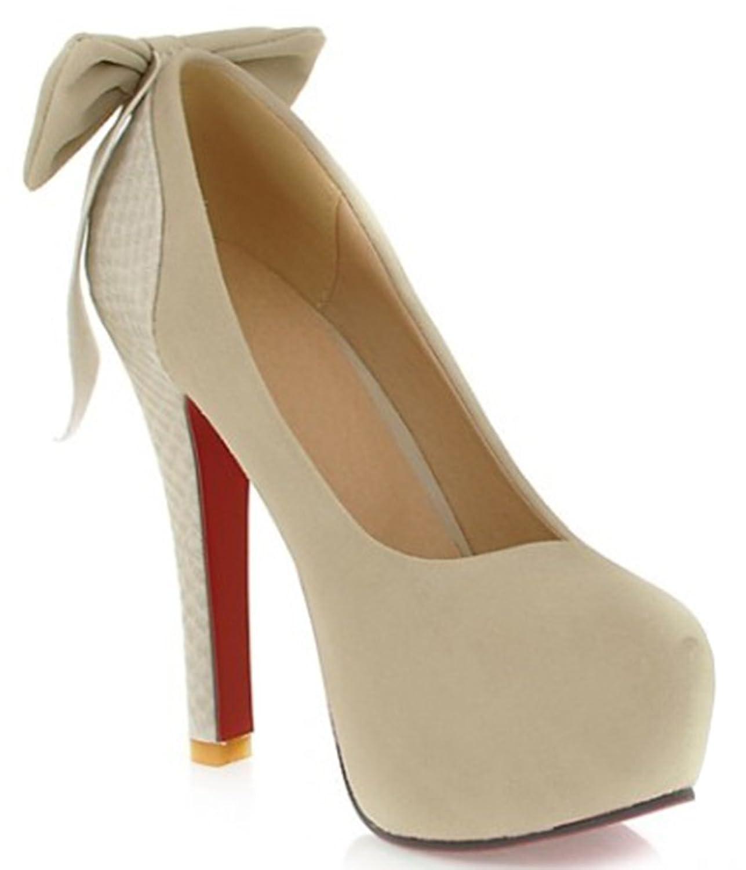 IDIFU Women's Bow Stiletto High Heels Slip On Pumps Closed Round Toe Platform Shoes