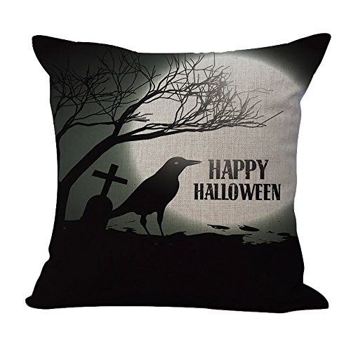 ChezMax Cotton Linen Halloween Crow Pattern Pillow Square Decor Sofa Cushion Decorative Throw Pillow 18