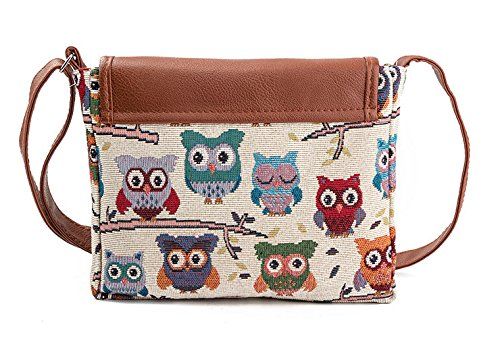Sale border Bag Ultra Deal Jacquard Valentoria® Message Handbag light EthnicShoulder Ladies Owl Canvas Mother's Gifts Cross bag Day Bag Retro Womens A 7qwt6EET