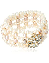 Carolee Petals and Pearls Collection Women's Freshwater Pearl Woven Stretch Bracelet, Gold/Pink