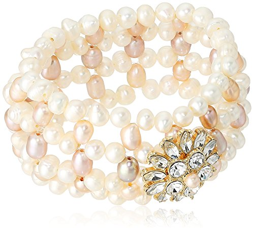 (Carolee Petals and Pearls Collection Women's Freshwater Pearl Woven Stretch Bracelet, Gold/Pink)
