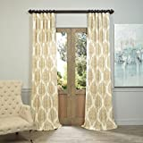 Half Price Drapes PRTW-D37B-120 Arabesque Tan Printed Cotton Twill Curtain, Brown Review