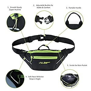 Summit Glory Lightweight Water Repellent Fanny Pack With Refective Stripe Black