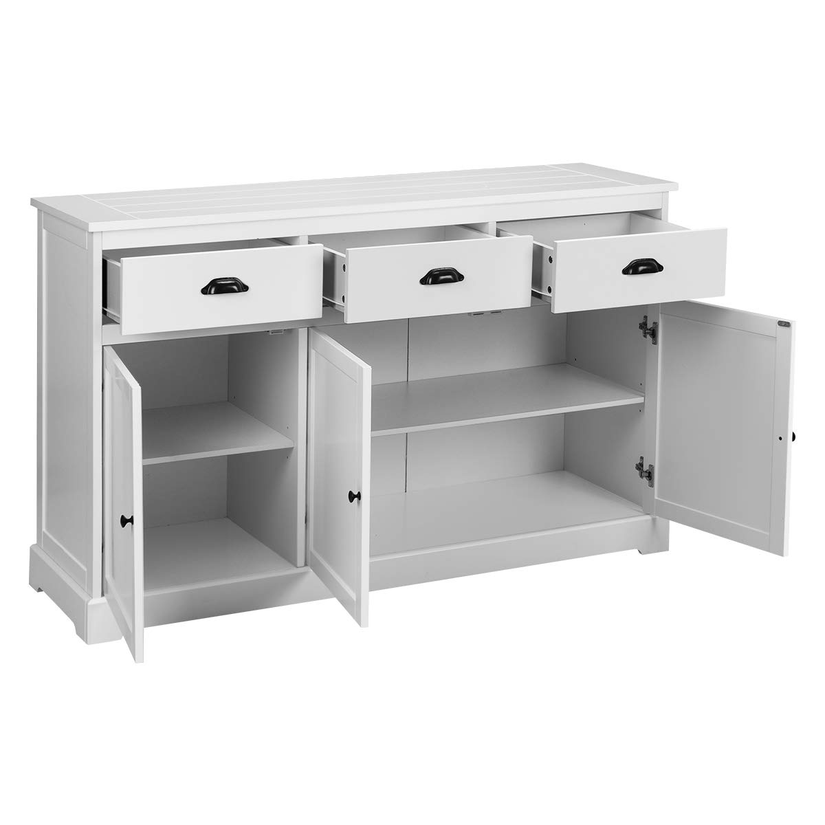 Giantex Sideboard Buffet Server Storage Cabinet Console Table Home Kitchen Dining Room Furniture Entryway Cupboard with 2 Cabinets and 3 Drawers Adjustable Shelves, White (White) by Giantex (Image #9)