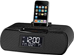 Sangean RCR-10 FM-RDS (RBDS) / AM / Aux-in Digital Tuning Atomic Clock Radio Compatible with 30 Pin iPod or iPhone (Black) WITH FREE BLUETOOTH MUSIC RECEIVER
