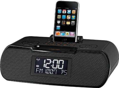 Sangean RCR-10 FM-RDS (RBDS) / AM / Aux-in Digital Tuning Atomic Clock Radio Compatible with 30 Pin iPod or iPhone (Black) WITH FREE BLUETOOTH MUSIC RECEIVER (Best Sounding Ipod Docking Station)