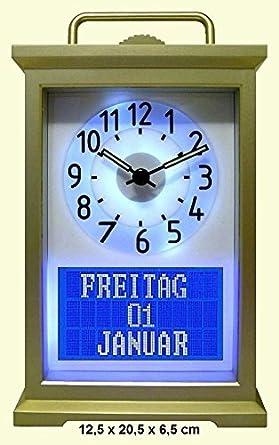 Digital a analógico y Calendario Reloj de día | Alzheimeruhr | Seniorenuhr | Demenzuhr | Tiempo