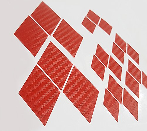[RED Carbon Fiber Overlay Vinyl Decal Sticker for ALL Mitsubishi Models 2002 - 2015 Existing Emblems] (Mitsubishi Mirage Vinyl)