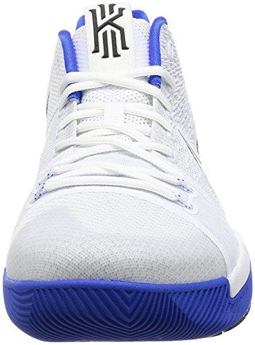 Nike Hommes Kyrie 3 Chaussure De Basket Blanc / Noir Hyper Cobalt