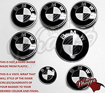 BLACK /& BLUE CARBON FIBER BMW Badge Emblem Overlay HOOD TRUNK RIMS FITS ALL BMW