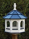 Large Gazebo Vinyl Bird Feeder Amish Homemade Handmade Handcrafted White & Blue