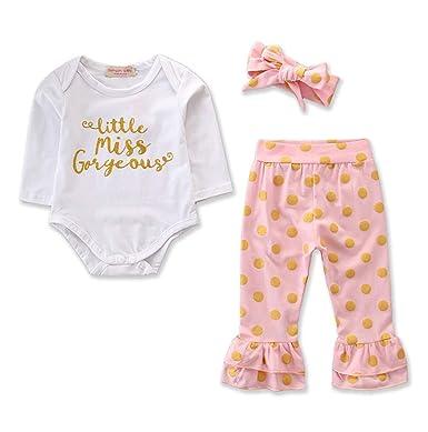 Baby Girls Long Sleeve Romper Bodysuit+Polka Dot Pants Headbans 3Pcs Outfits Set