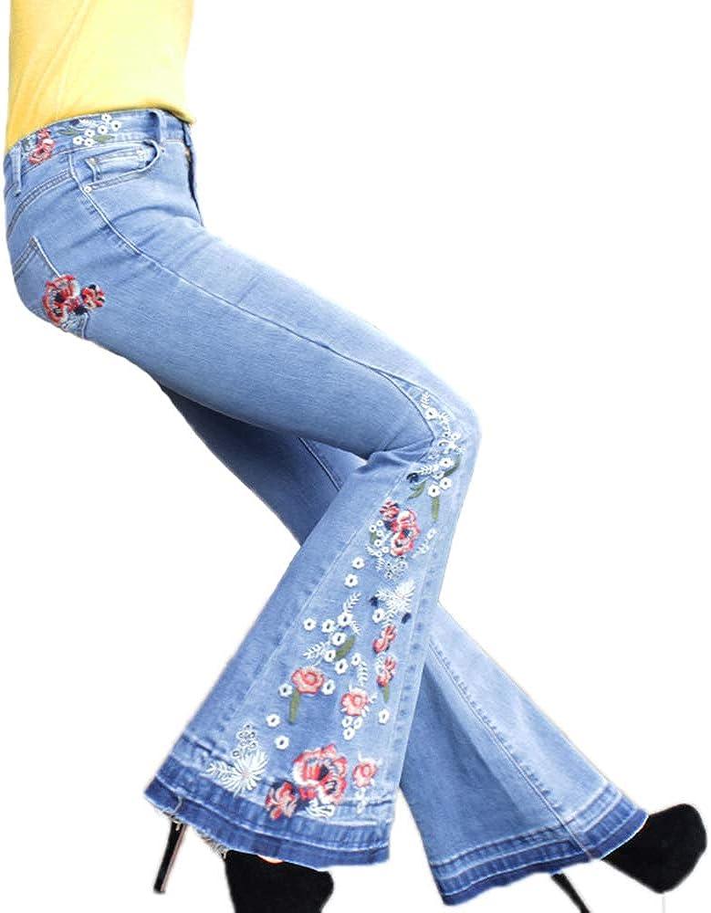 keepmore Jeans Donna a Gamba Larga Eleganti Pantaloni Svasati a Taglio Vivo