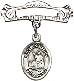 Sterling Silver Baby Badge Arched Pin with Saint