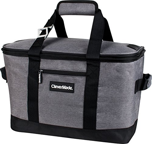 CleverMade Collapsible Cooler Bag: Insulated Leakproof 50 Can Soft Sided Portable Beverage Tote with Bottle Opener & Storage Pockets, Charcoal/Black -