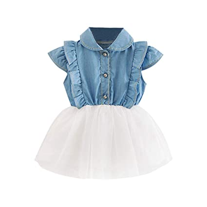9e3e8d88fa4 DDLmax Toddler Infant Baby Girls Denim Tutu Tulle Princess Dresses Sundress  Outfits (White, Age:6-12 Months): Arts, Crafts & Sewing