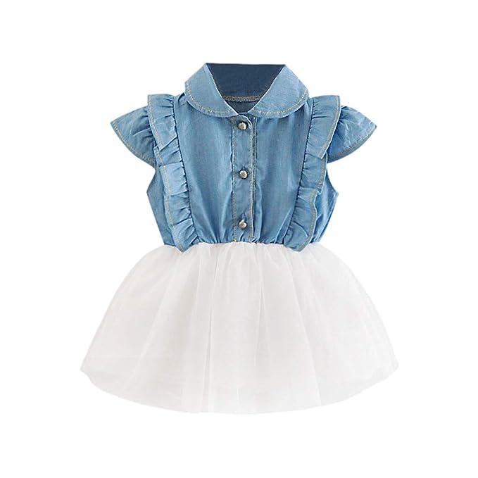 QinMM Vestido de Vaqueros para bebé niña, Tutu Tul Falda Princesa ...
