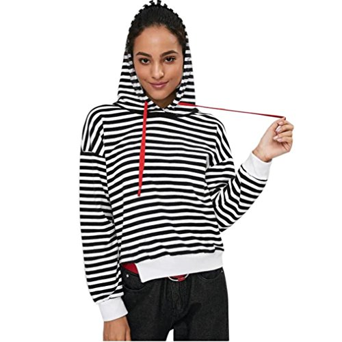 Spbamboo Women Sweatshirts Long Sleeve Hoodie Cutout Stripes Hoodie Tops Shirt by Spbamboo