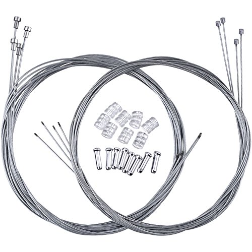 Hotop 2 Set Road Bike Brake Cable Bicycle Gear Cable Wire with Caps Complete Inner Replacement (Bike Gear Cable)
