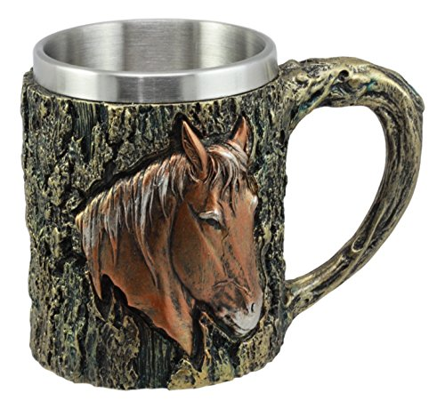 Ebros The Stallion Wildlife Chestnut Horse Mug Textured With Rustic Tree Bark Design In Painted Bronze Finish 12oz Drink Beer Stein Tankard Coffee Cup