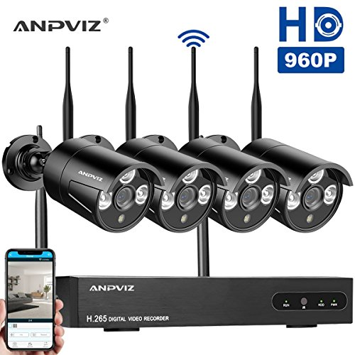 ... Video Kit de vigilancia WiFi Anpviz 4CH 960P HD NVR, Kit WiFi NVR y (4) cámaras IP Bullet inalámbricas de 1.3MP con P2P, detección de movimiento, ...