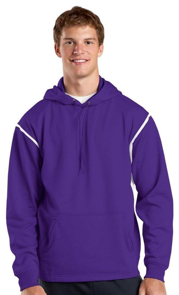 Sport-Tek Men's Tall Tech Fleece Colorblock Hooded 3XLT Purple/White by Sport-Tek