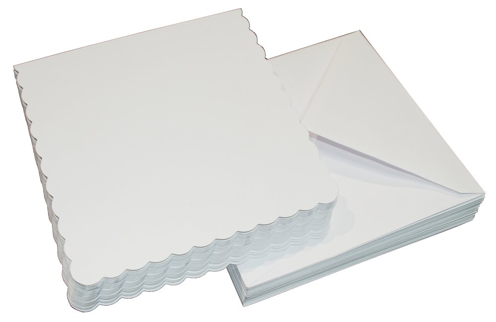Craft UK 1076 7 x 7 inch Scalloped Card and Envelope pack of 25 - White 387 076