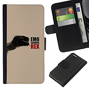 Protector de cuero de la PU de la cubierta del estilo de la carpeta del tirón BY RAYDREAMMM - Apple Iphone 5C - Emosaurus Rex divertido dinosaurio