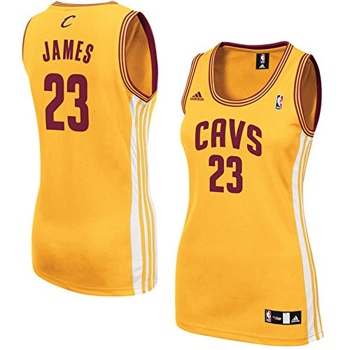 Women's 23 LeBron James Cleveland_Cavaliers Road Jersey Gold color Size (Lebron James Authentic Home Jersey)