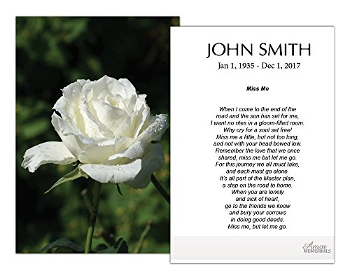 Funeral Memorial Prayer Cards (50 Cards) FPC1015EN White Rose (Custom Printed - Select Desired Prayer) ()