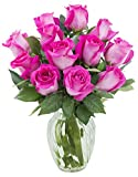 #3: KaBloom Valentine's Day Special: Sweet Pink Bouquet of 12 Fresh Cut Pink Roses (Long Stemmed) with Vase
