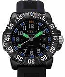 Men's Tritium Luminous Watch H3 Rotatable Bezel Stainless Steel Case Rubber Band Military Quartz Watches