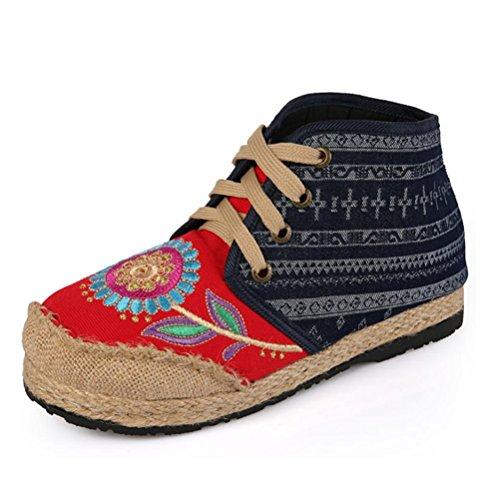 delanteros QPYC Zapatos de tirantes cabeza de tela red de tacón individuales solapa de lateral antideslizantes bordadas Pendientes mujer de Botas cremallera redonda alto con de Zapatos Zapatos pXdXwr