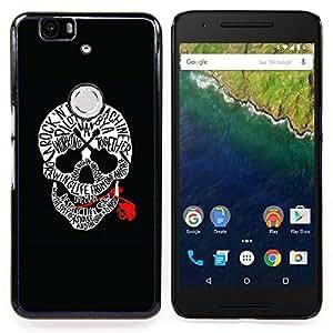 - Skull Red Blood Rock Roll Guitar Music/ Duro Snap en el tel????fono celular de la cubierta - Cao - For Huawei Nexus 6P