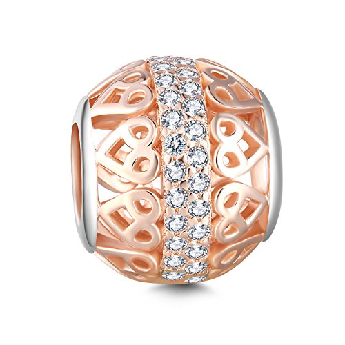 Glamilia Rose Gold Plated Sterling Silver Cubic Zirconia Heart Filigree Round Bead Charms for Bracelets ()