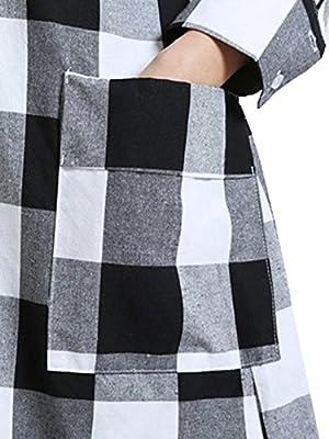 MissLook Women's Checkered Plaid Long Sleeve Asymmetrical Pockets Shift Shirt Dress