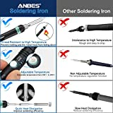 Anbes Soldering Iron Kit Electronics, 60W 110V Adjustable Temperature Welding Tool, 5pcs Soldering Tips, Desoldering Pump, Soldering Iron Stand and Solder Wire for Variously Repaired Usage